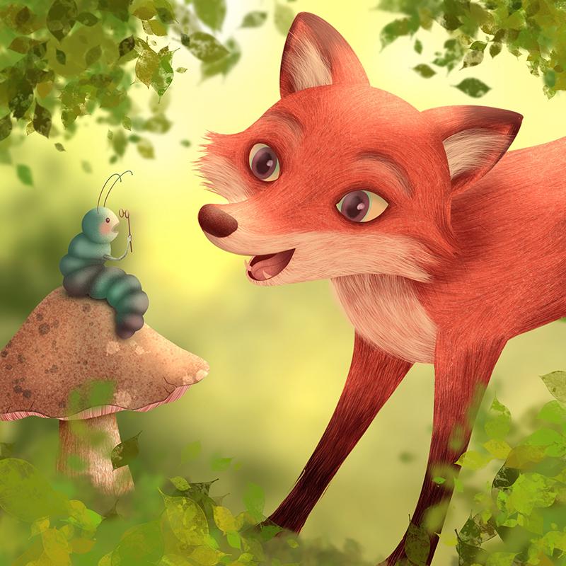 Fuchs und Raupe