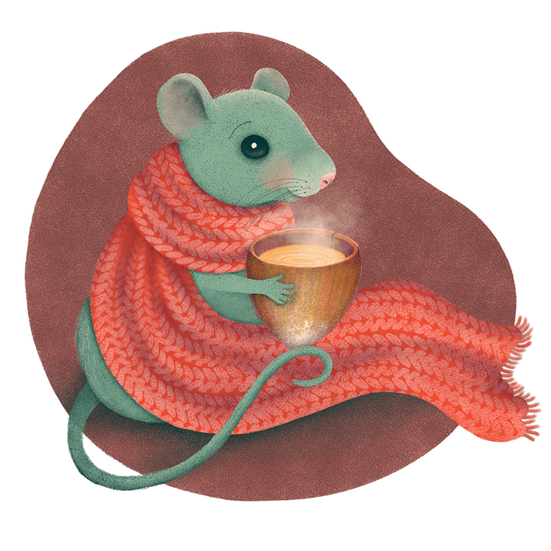 Maus mit Schal