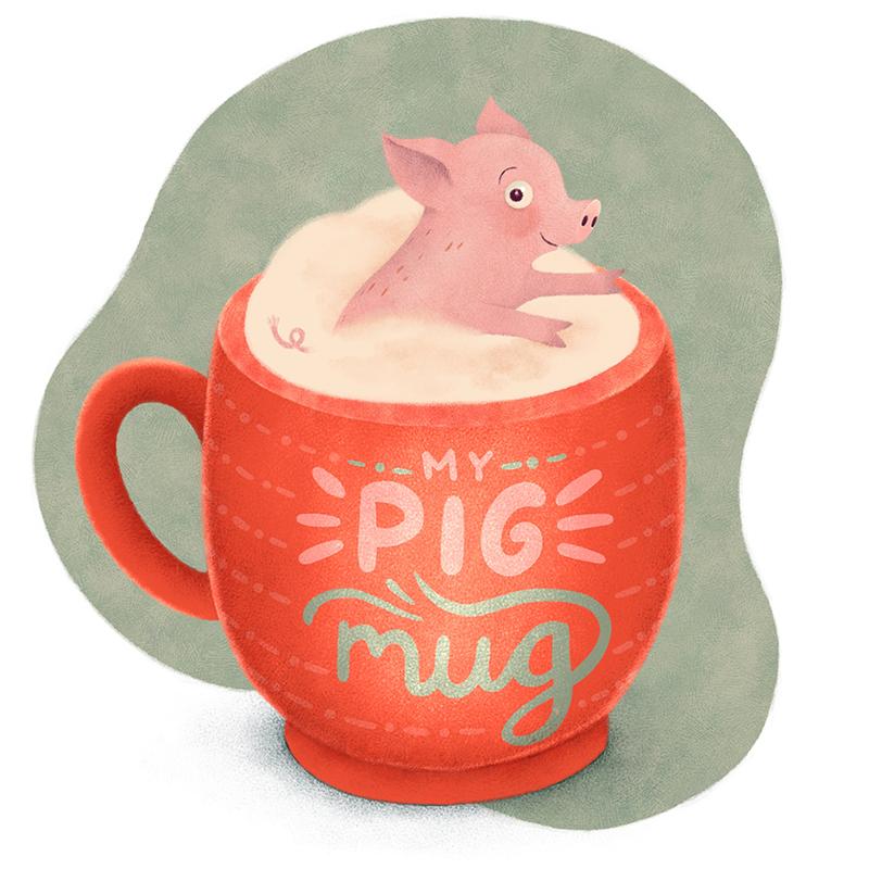 Schwein in Tasse